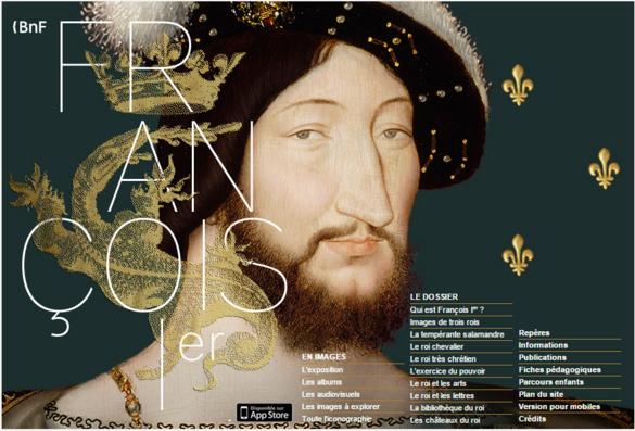 Interface de l'exposition sur François 1er ©BNF